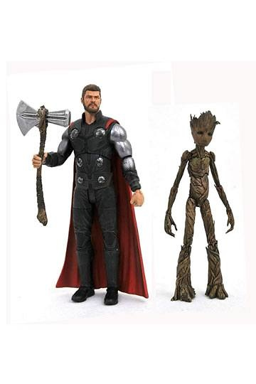 Vengadores Infinity War Marvel Select Figuras Thor & Groot 18 cm