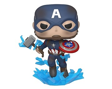 Avengers: Endgame POP! Movies Vinyl Figura Captain America w/Broken Shield & Mjölnir 9 cm