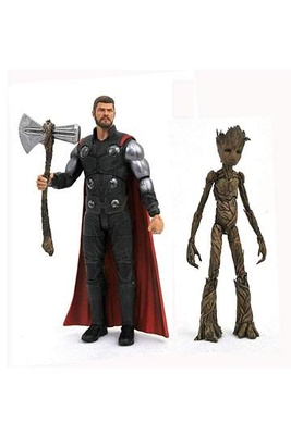 Vengadores Infinity War Marvel Select Figuras Thor & Groot 18 cm